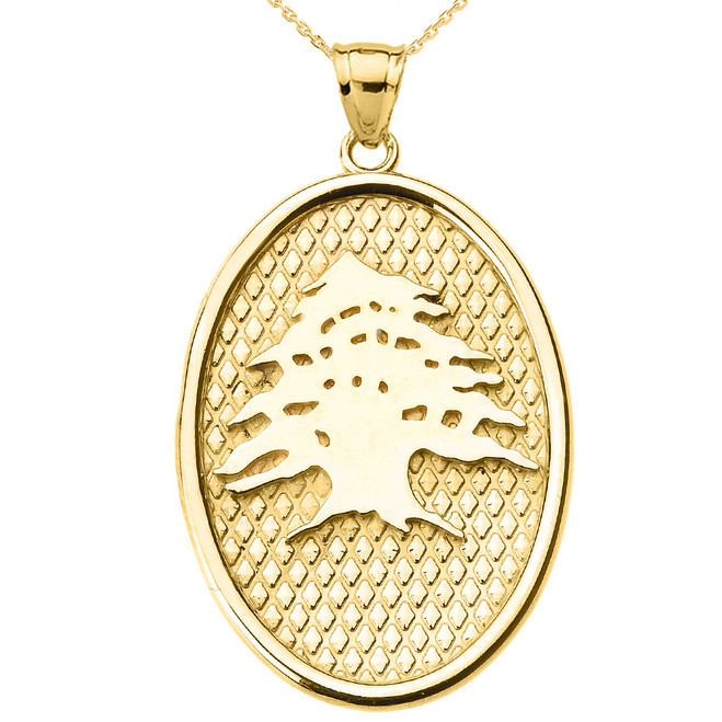 Yellow Gold Lebanese Cedar Tree Oval Pendant Necklace