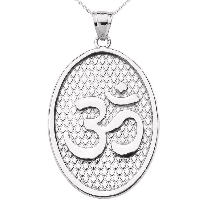 White Gold Om/Ohm Oval Pendant Necklace