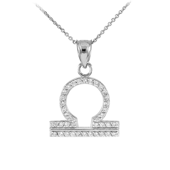 14K White Gold Libra Zodiac Sign Diamond Pendant Necklace