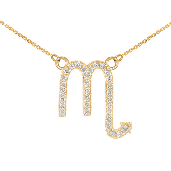 14K Gold Scorpio Zodiac Sign Diamond Necklace