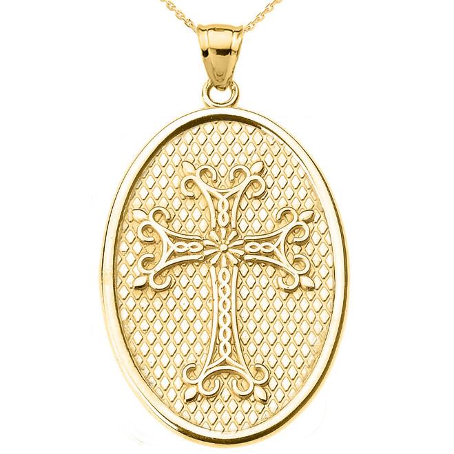 Yellow Gold Armenian Apostolic Cross Oval Pendant Necklace