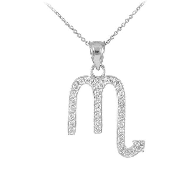 14K White Gold Scorpio Zodiac Sign Diamond Pendant Necklace