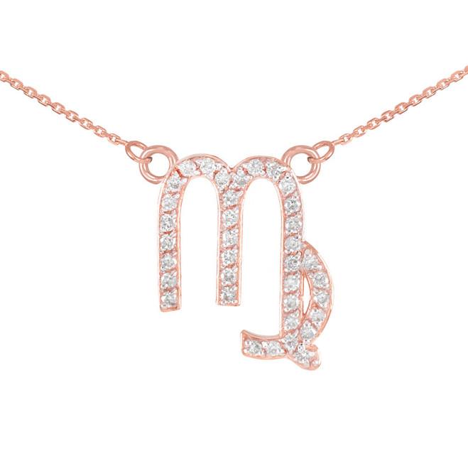 14K Rose Gold Virgo Zodiac Sign Diamond Necklace