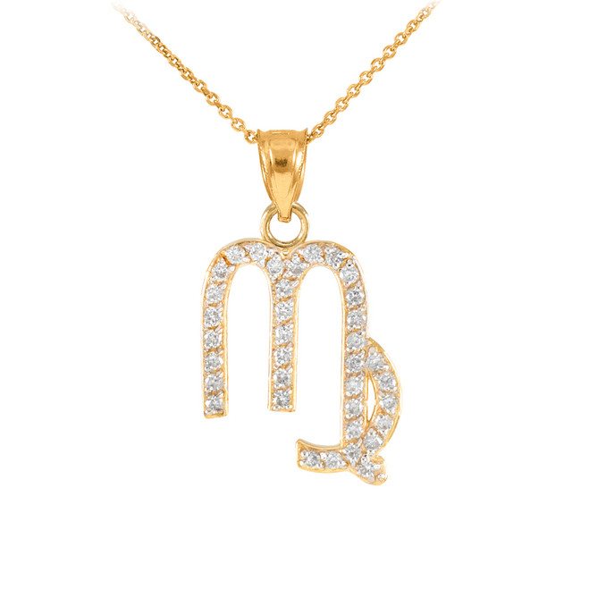 14K Gold Virgo Zodiac Sign Diamond Pendant Necklace