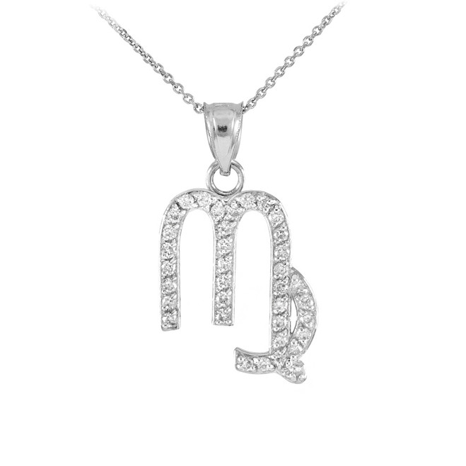 14K White Gold Virgo Zodiac Sign Diamond Pendant Necklace