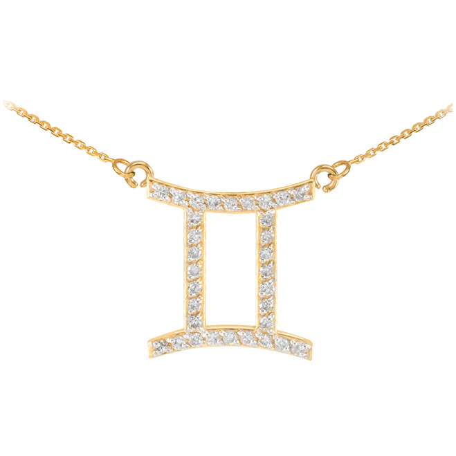 14K Gold Gemini Zodiac Sign Diamond Necklace