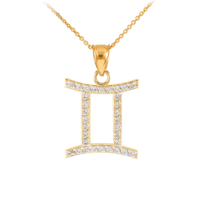 14K Gold Gemini Zodiac Sign Diamond Pendant Necklace