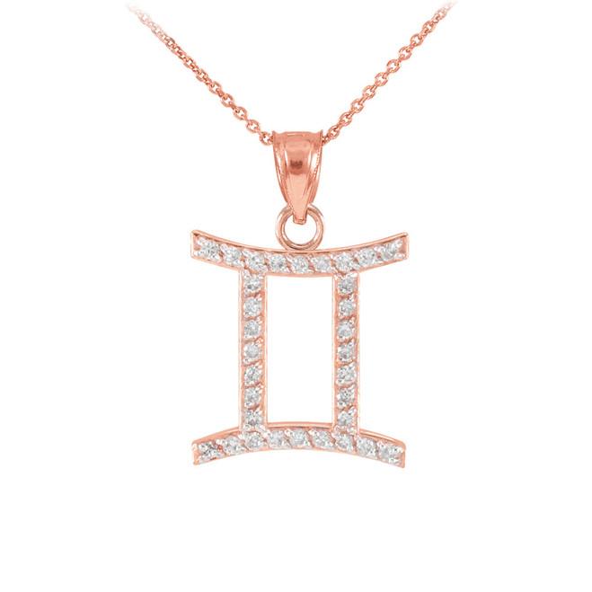 14K Rose Gold Gemini Zodiac Sign Diamond Pendant Necklace