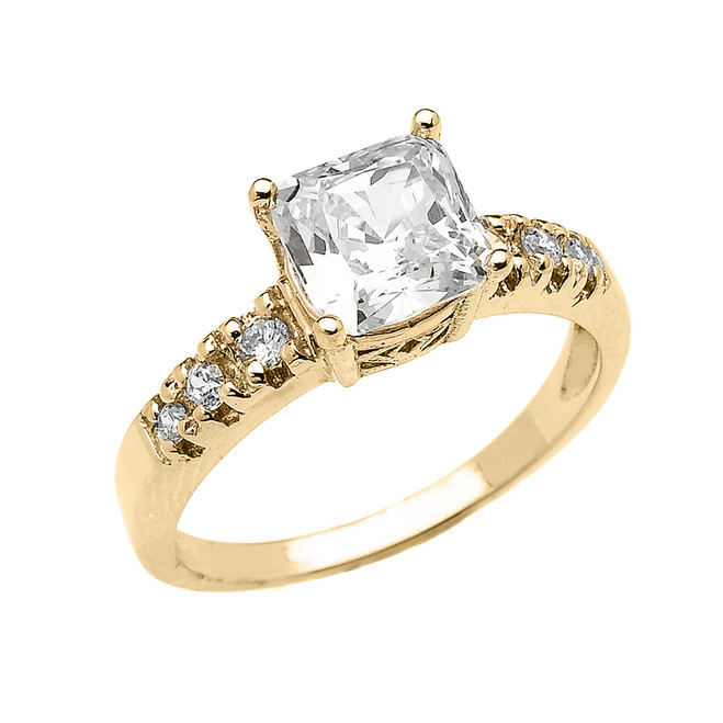 Elegant Yellow Gold Princess Cut CZ Solitaire Engagement Ring
