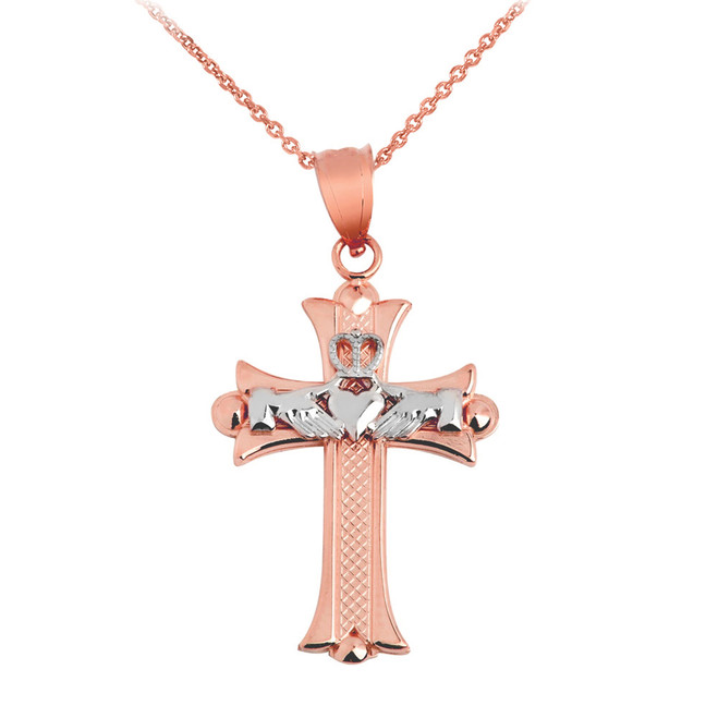 Claddagh Cross White and Rose Gold Pendant Necklace