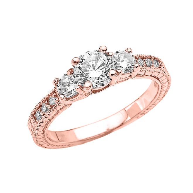 Rose Gold Art Deco CZ Engagement Proposal Ring