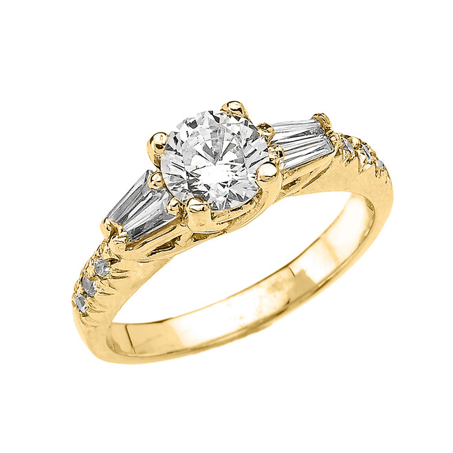 Yellow Gold French Cut Pave CZ Engagement Ring with Tapered Baguettes