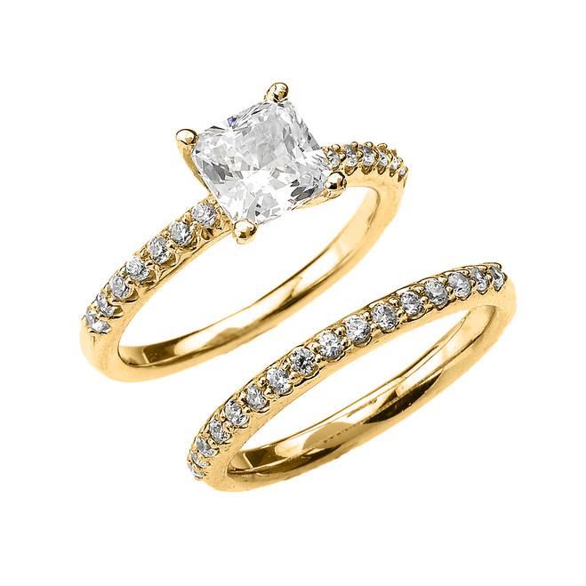 Yellow Gold Princess CZ Classic Engagement Wedding Ring Set
