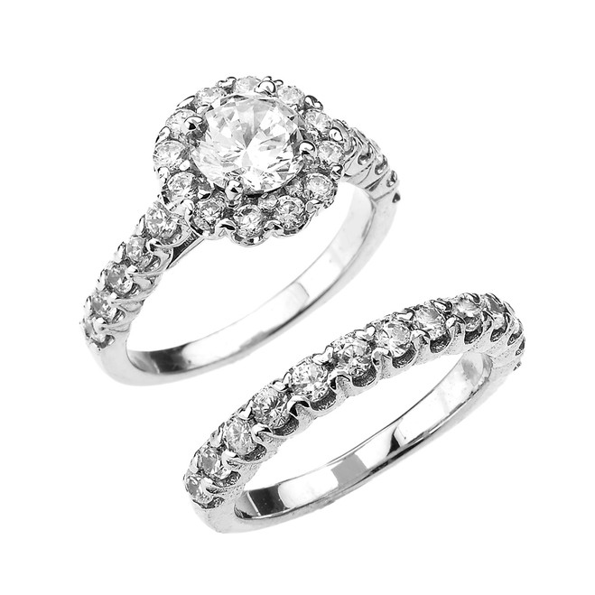 CZ Halo Engagement Ring Set in White Gold