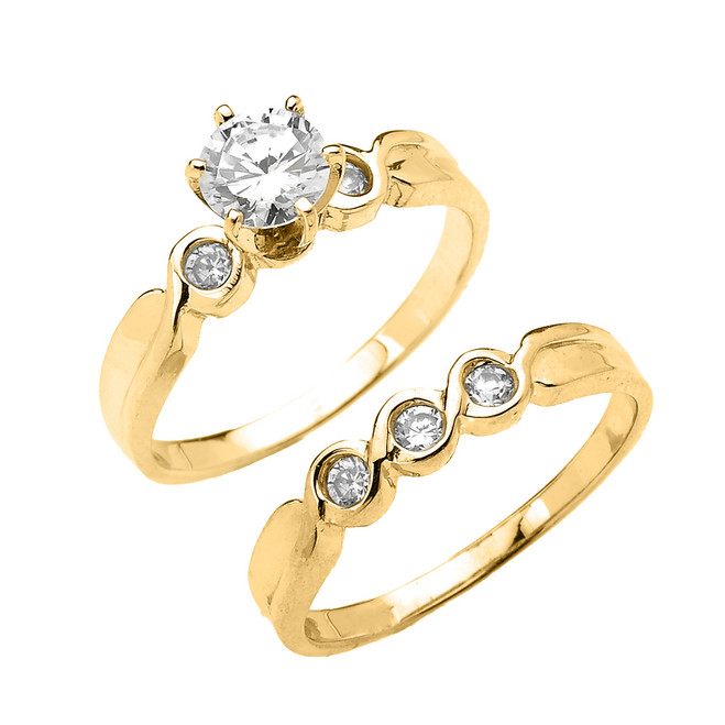 Yellow Gold 6 Prongs Cubic Zirconia 2-Pc Engagement Wedding Ring Set