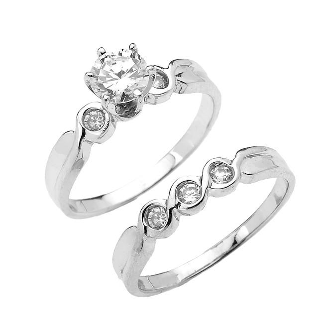 White Gold 6 Prongs Cubic Zirconia 2-Pc Engagement Wedding Ring Set