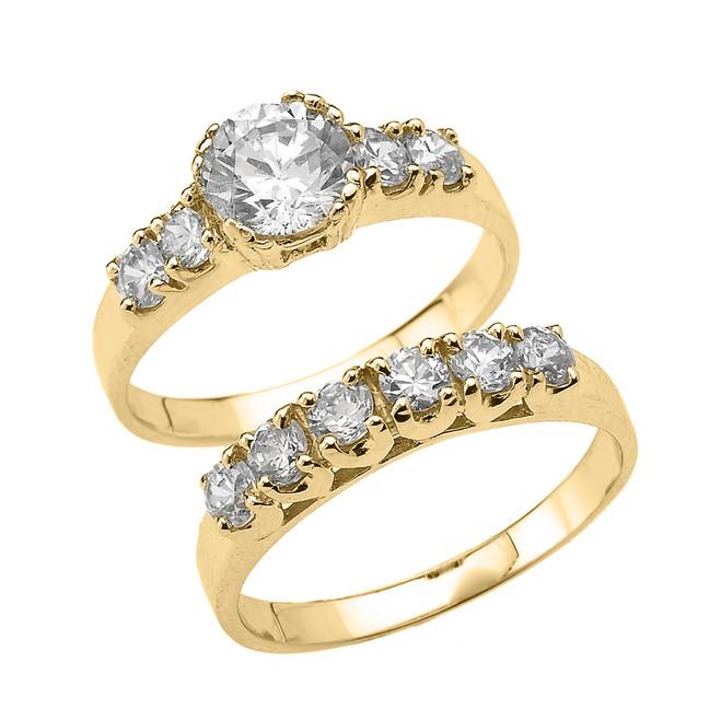 Yellow Gold Round Cubic Zirconia Engagement Wedding Ring Set