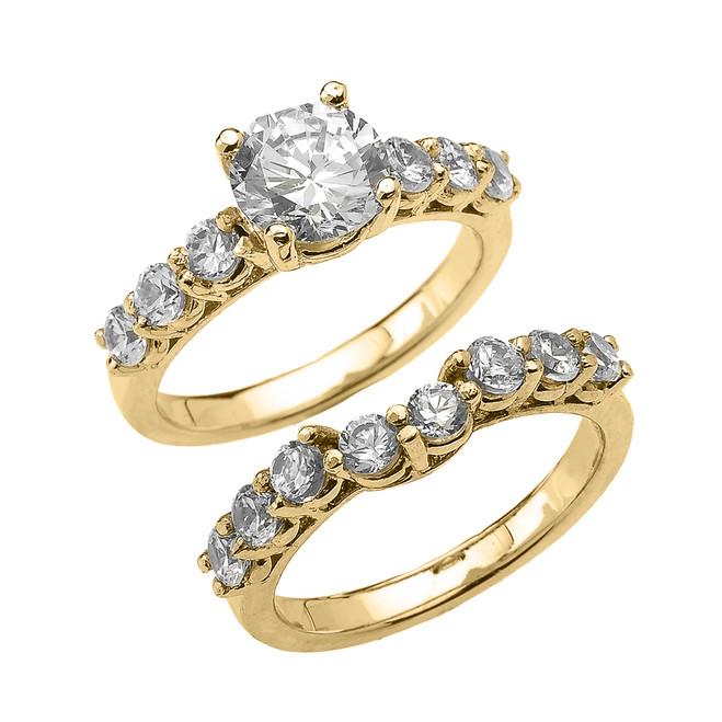 Yellow Gold Round CZ Engagement Bridal Set