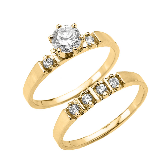 Yellow Gold Round CZ Solitaire Engagement Wedding Ring Set