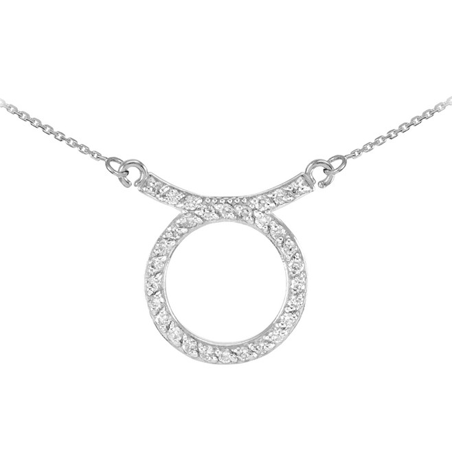 14K White Gold Taurus Zodiac Sign Diamond Necklace