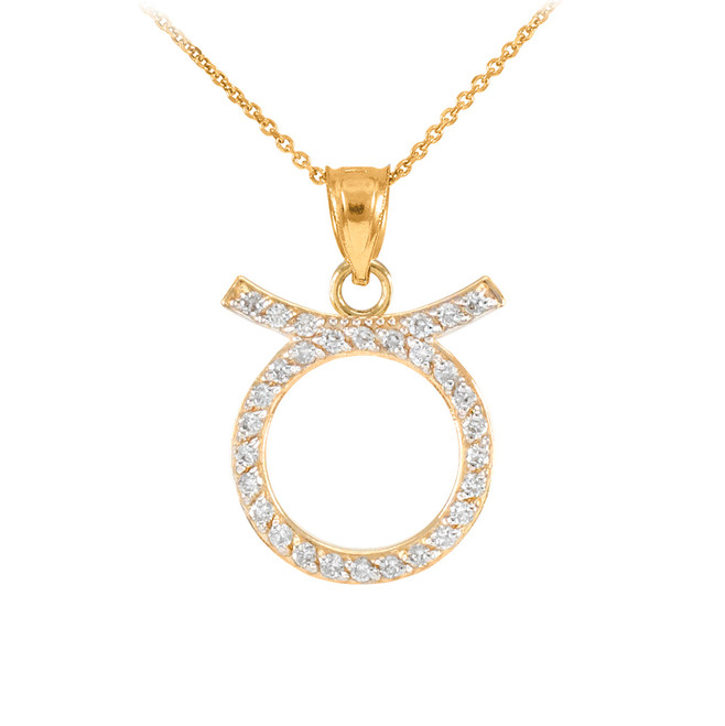 14K Gold Taurus Zodiac Sign Diamond Pendant Necklace