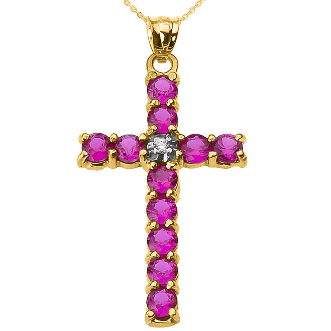 10k Yellow Gold Diamond and Red CZ Cross Pendant Necklace