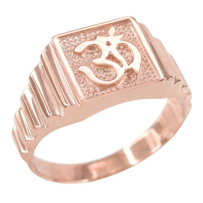Rose Gold Om Men's Ring
