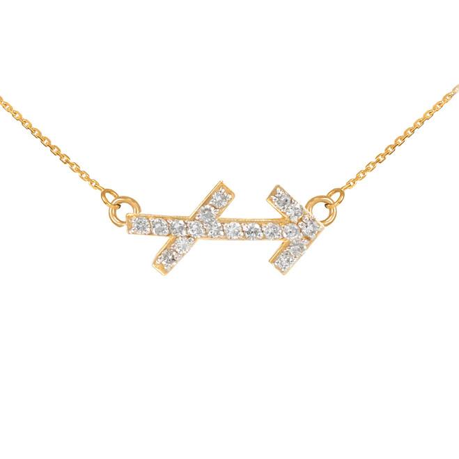 14K Gold Sagittarius Zodiac Sign Diamond Necklace