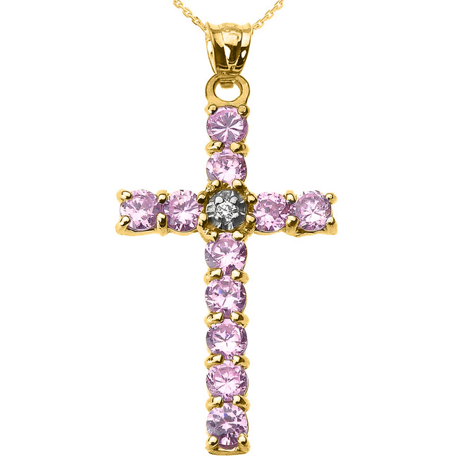 10k Yellow Gold Diamond and Pink CZ Cross Pendant Necklace