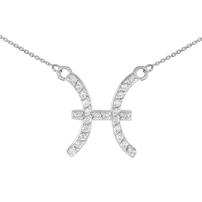 14K White Gold Pisces Zodiac Sign Diamond Necklace