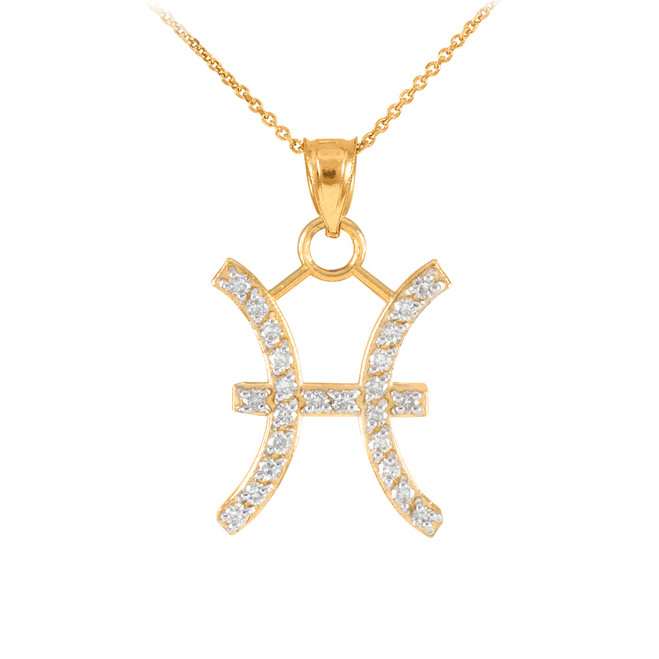 14K Gold Pisces Zodiac Sign Diamond Pendant Necklace