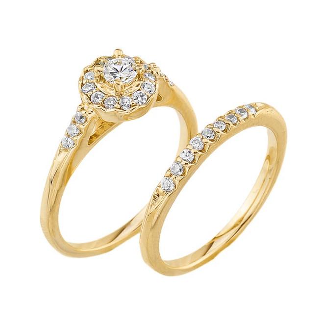Yellow Gold Diamond Halo Wedding Engagement Ring Set