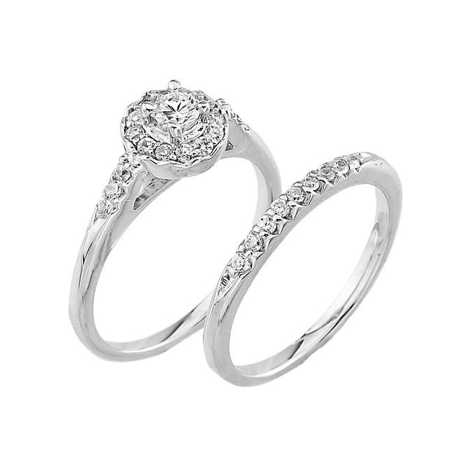 White Gold CZ Halo Wedding Engagement Ring Set