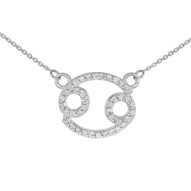 14K White Gold Cancer Zodiac Sign Diamond Necklace