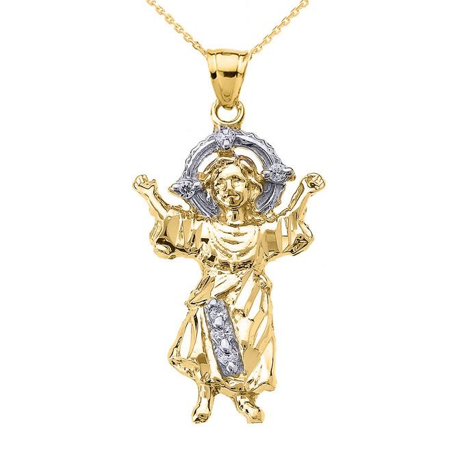 Yellow Gold Baby Jesus Cubic Zirconia Pendant Necklace