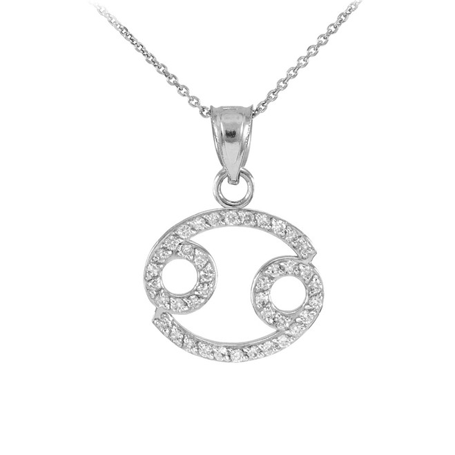 14K White Gold Cancer Zodiac Sign Diamond Pendant Necklace