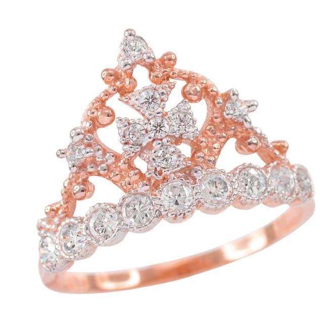 Rose Gold Crown Cross CZ Ring