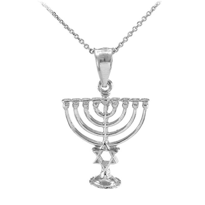 Sterling Silver Menorah Pendant with Star of David