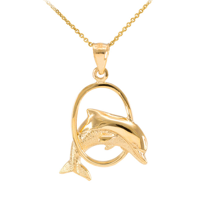 Solid Gold Hoop Jumping Dolphin Pendant Necklace