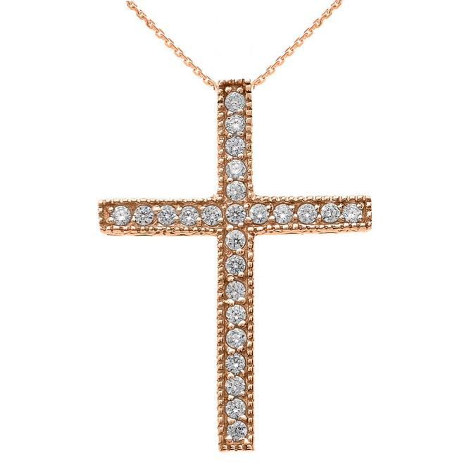 Rose Gold Milgrain Edged Diamond Cross Pendant Necklace