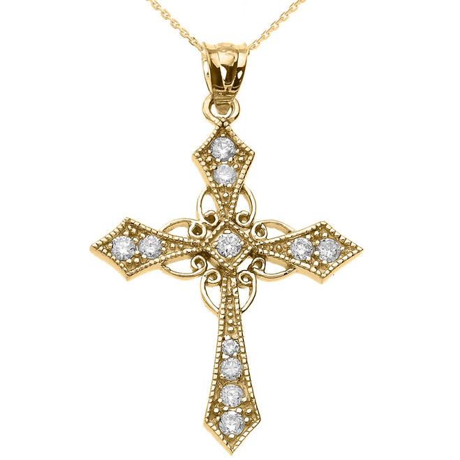 Yellow Gold Diamond Celtic Cross Pendant Necklace