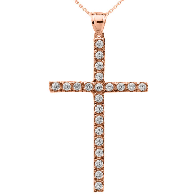 Rose Gold Cubic Zirconia Cross Pendant Necklace