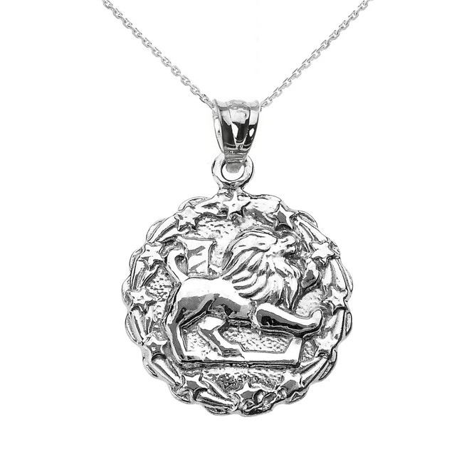 Sterling Silver Leo August Zodiac Sign Round Pendant Necklace