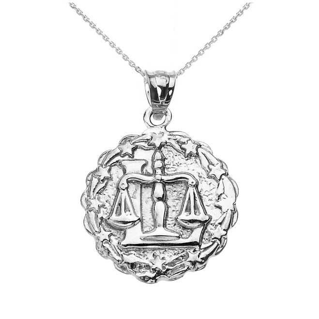 Sterling Silver Libra October Zodiac Sign Round Pendant Necklace