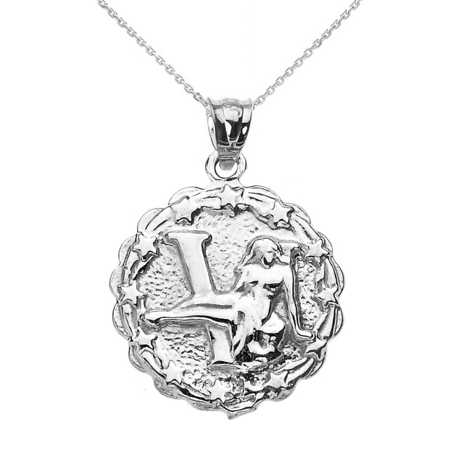 Sterling Silver Virgo September Zodiac Sign Round Pendant Necklace