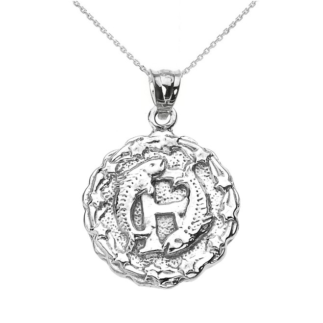 Sterling Silver Pisces March Zodiac Sign Round Pendant Necklace