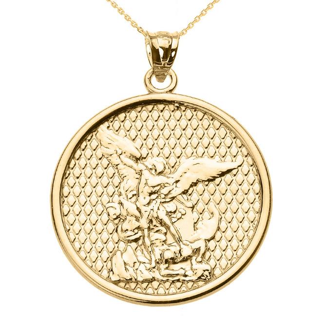 Yellow Gold Saint Michael Pendant Necklace