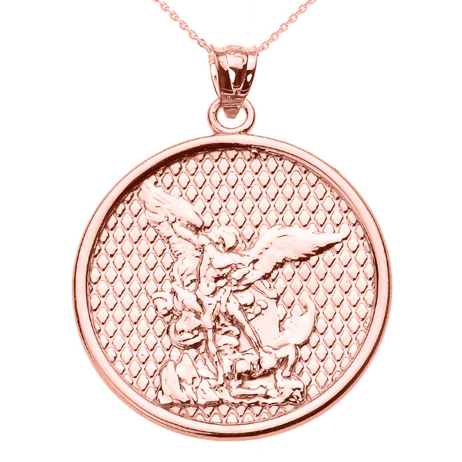 Rose Gold Saint Michael Pendant Necklace