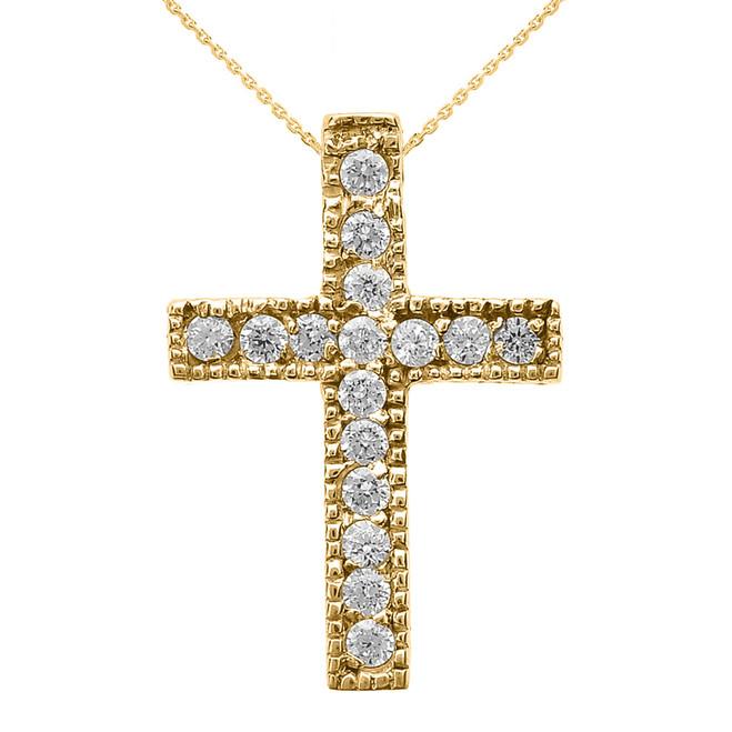 Yellow Gold Milgrain Edged Diamond Cross Pendant Necklace (Small)
