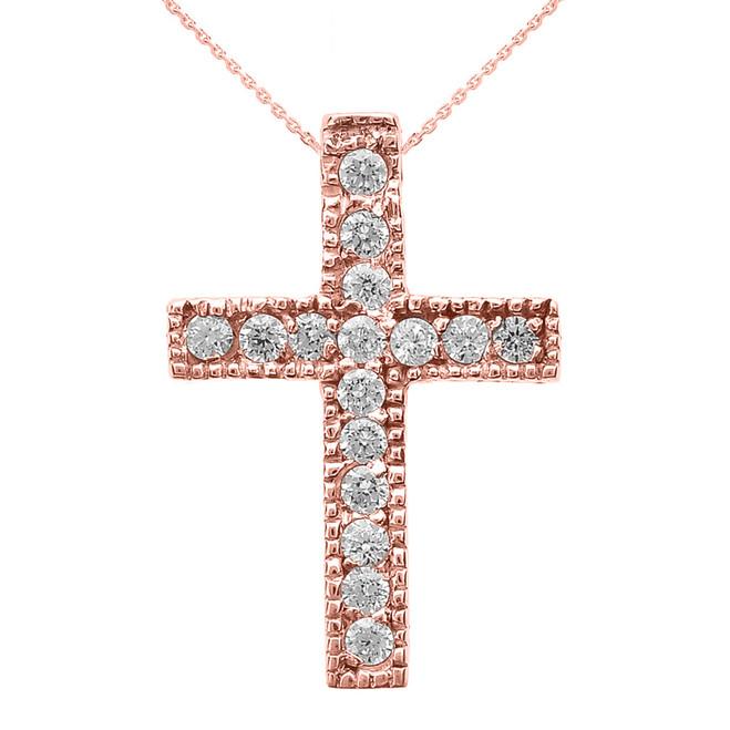 Rose Gold Milgrain Edged Diamond Cross Pendant Necklace (Small)